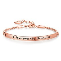 Annamate Engraved Message I love you, Grandma Inspirational Quote Bar Br... - $27.40