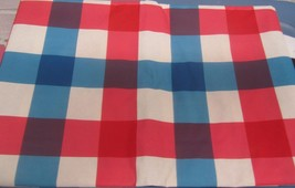 "Flannel Back Vinyl Tablecloth 52"" X 104"" (8-10 Ppl), Red Blue White Squares, Ap - $17.81"