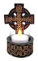 Beautiful Celtic Cross Trinity Warrior Symbol Tea Light Candle Holder Fi... - $17.81