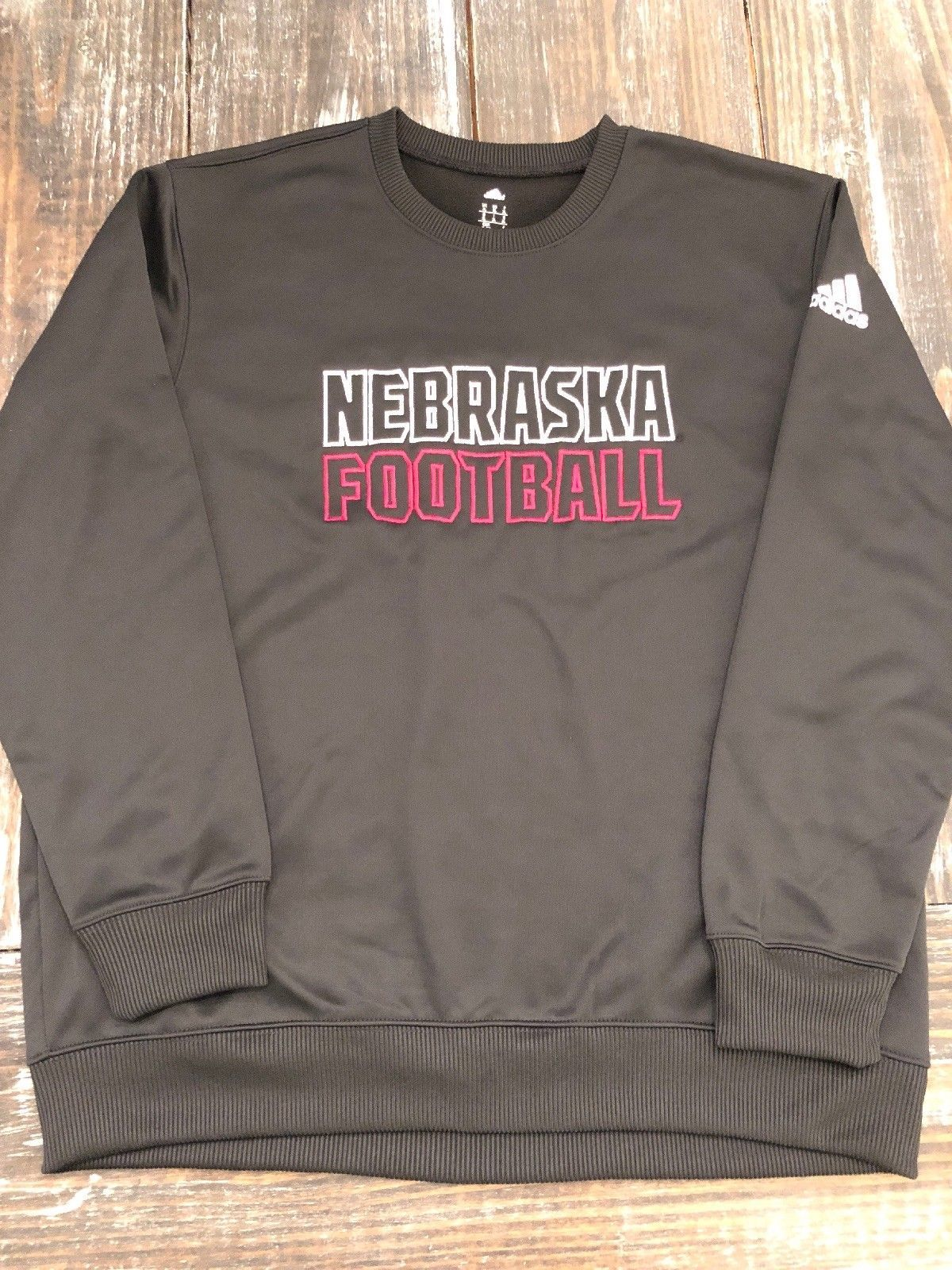 NWT ADIDAS NEBRASKA FOOTBALL BLACK EMBROIDERED CLIMAWARM FLEECE TOP XL $70+