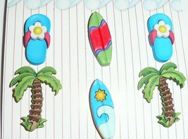 Surfs Up - Surf Boards - Flip Flops -  Palm Trees 3D Realistic Shank But... - $5.29