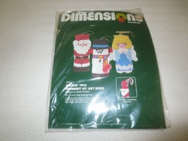 Dimensions HOLIDAY TRIO ORNAMENT SET Canvas Needlepoint SEALED Kit #9038  - $7.92