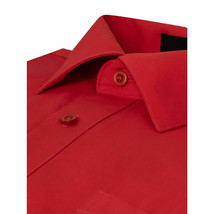 Omega Italy Men Red Classic French Convertible Cuff Solid Dress Shirt - L image 2