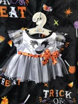 Build a Bear Black and White w/ Orange Bow Sparkly Halloween Ghost Dress - $36.95