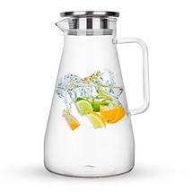 Purefold 68 Ounces Glass Pitcher with Lid, Hot/Cold Water Carafe with Ha... - $28.09