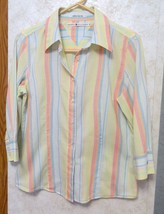 Tommy Hilfiger Ladies 3/4 Length Sleeve Pastel Stripe Blouse Sz10 - 100% Cotton - $12.86