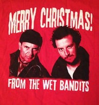 WET BANDITS HOME ALONE HARRY MARV MERRY CHRISTMAS MEN'S MED RED T-SHIRT NEW - $11.75
