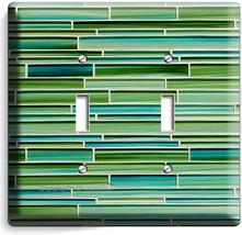 Green Mosaic Glass Tiles Design Double Light Switch Wall Plate New Kitchen Decor - $10.77