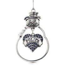 Inspired Silver Police Pave Heart Snowman Holiday Christmas Tree Ornament With C - $14.69
