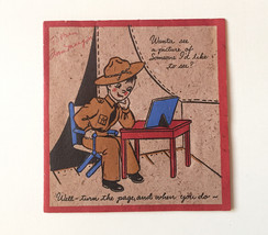 Vintage 1940s WWII Era Greeting Card Cute Soldier Illustration with Mirr... - $11.26