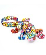 "Barcino Salamander Gecko Lizard Mosaic Limited Edition Flower 3.75"" Magn... - $14.25"