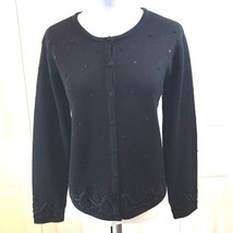 Talbots Womens Sweater sz M Cardigan Pure Wool Beaded Bottom and Sleeves - $23.16