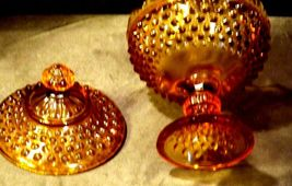 Amber glass diamond point footed compote-candy dish AA19-1601 Vintage image 7