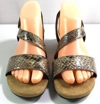 Aerosoles Heelrest Wedge Sandals Brown Snake Print Women's Size 7.5 M - $39.95