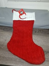 C Monogram Initial Letter Red White Knit Christmas Stocking  NEW  - $24.70
