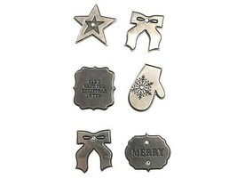 American Crafts Antique Silver Metal Christmas Stickers with Rhinestones