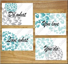 Wall Art Teal + Gray + White Prints Inspire Floral LOVE Bedroom Bathroom... - $13.97