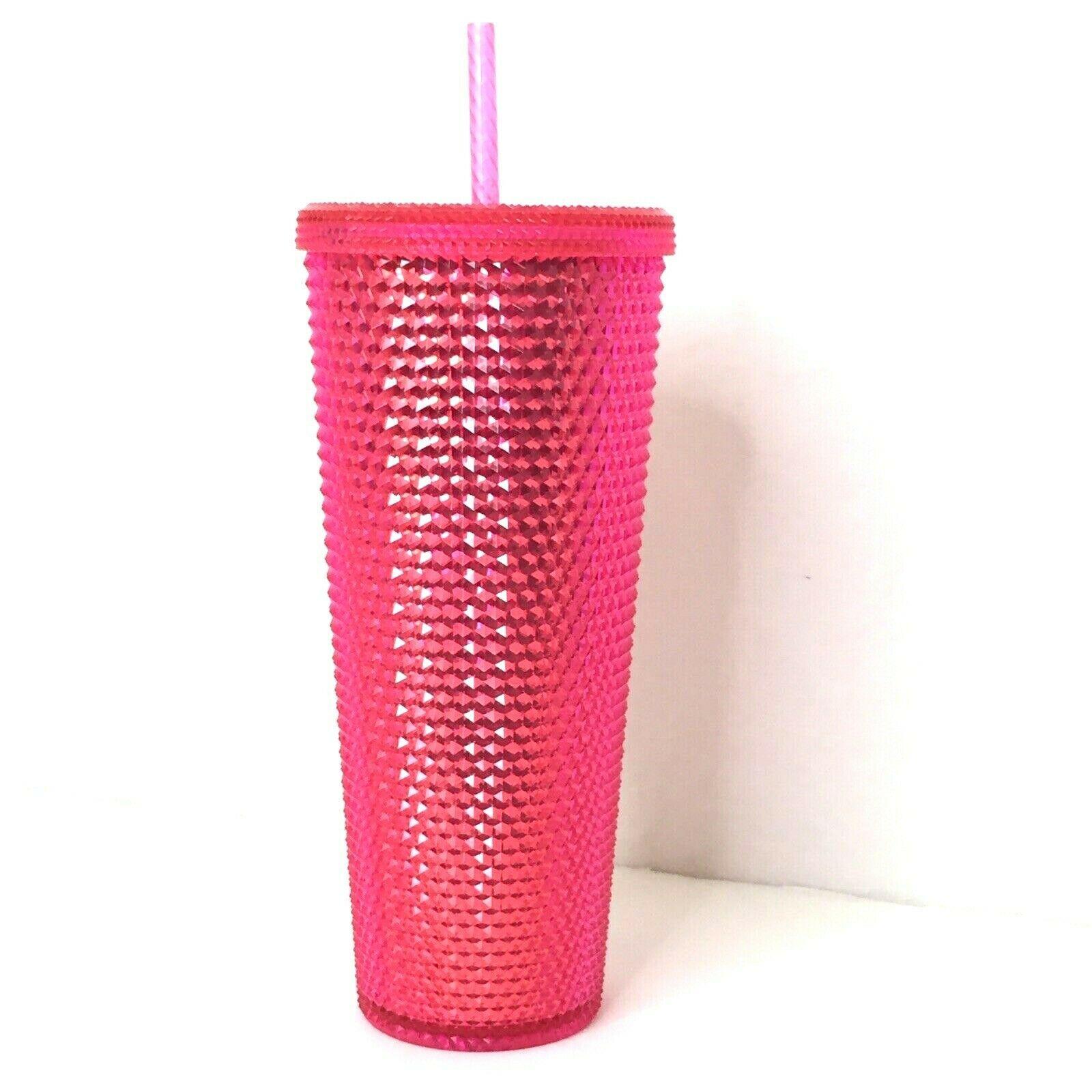 Starbucks 2019 Holiday Pink Red Studded Tumbler Christmas 24 oz Lid & Straw NEW image 2