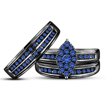 Blue Sapphire Black Gold Over 925 Sterling Silver His Her Wedding Trio Ring Set - $168.99