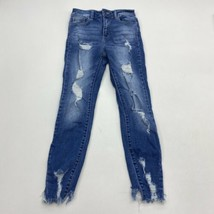 Cello Denim Jeans Women's Size 1 Blue Faded Straight Leg Distressed Fray... - $18.95