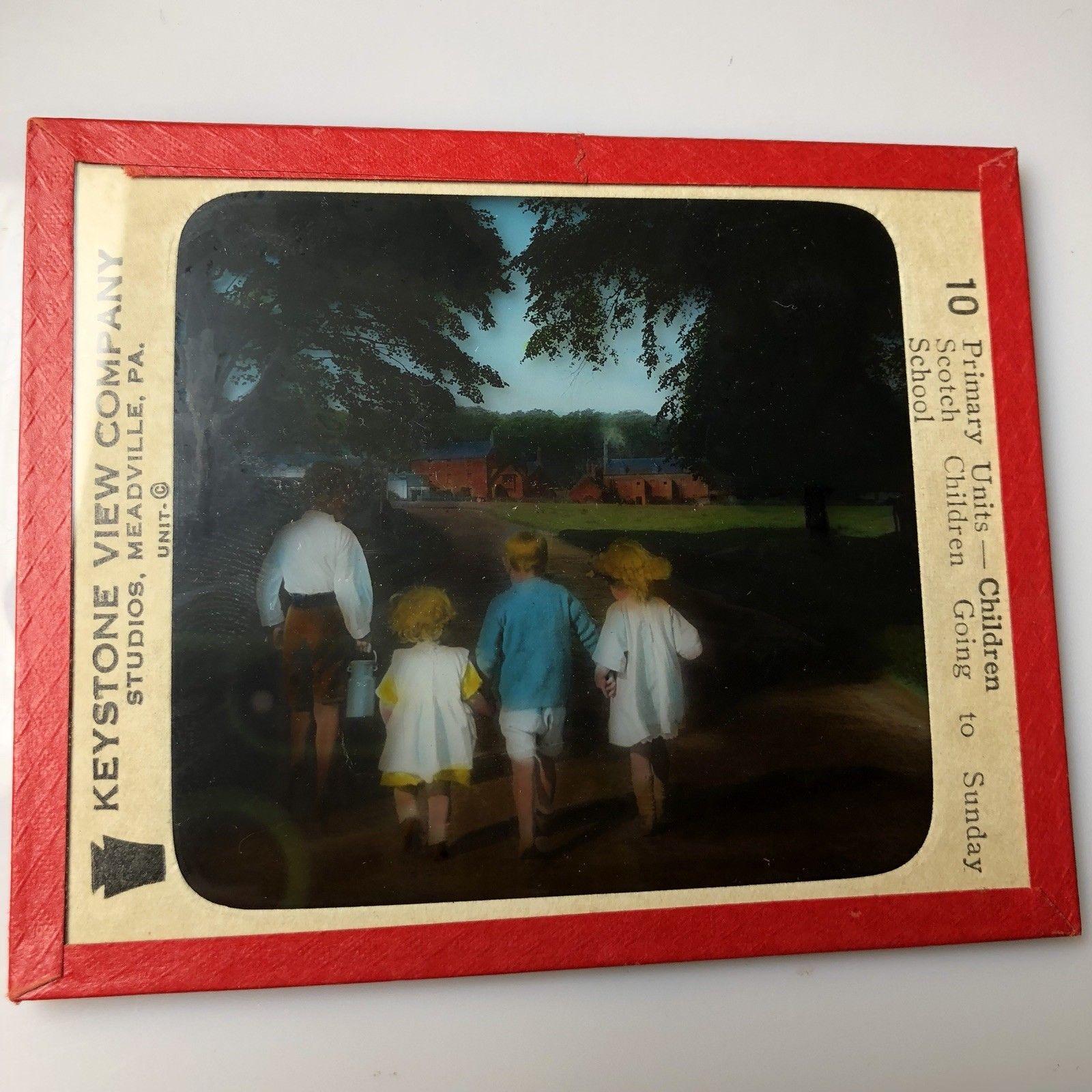 Vtg Magic Lantern Glass Slide Color Photo Keystone Scotch Children To School