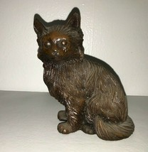 "Vintage Red Mill Pecan Shell Resin 5"" Feline Statue Figurine Adorable CA... - $7.84"