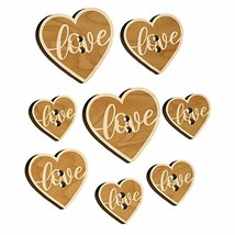 Love Script in Heart Wood Buttons for Sewing Knitting Crochet DIY Craft - Small  - $9.99