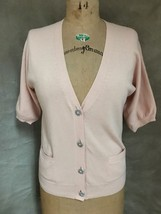 Talbots Blush Pink Cardigan Sweater 3/4 Sleeves S Gem Snowflake Buttons Blend - $24.08