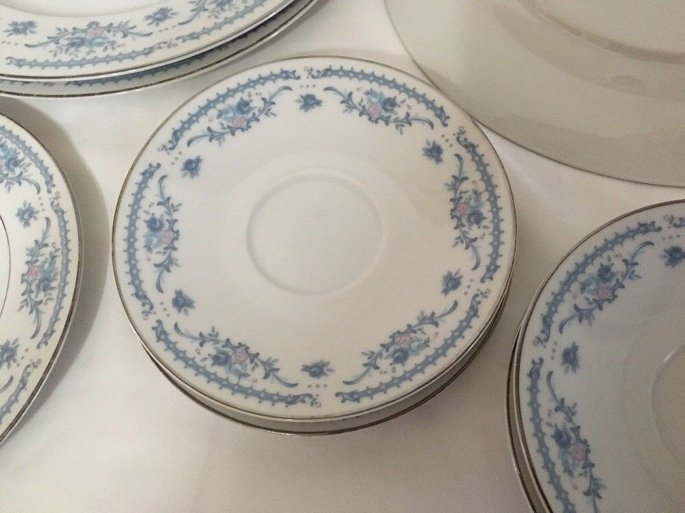 Winsford Ekco Fine China Blue And Pink Japan Plates Saucers image 4