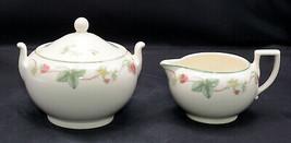 Wedgwood Queen's Ware Raspberry * SUGAR BOWL & CREAMER * England, Good C... - $39.59
