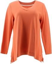 Isaac Mizrahi Essentials Trapeze Hem V-Neck Tunic Mandarin Orange M NEW ... - $29.68