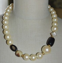 Faux Pearl Sliced Nut Acrylic Bead Beaded Choker Necklace Vintage - $14.85