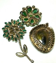 VINTAGE GREEN BROOCHES GLASS AGATE JULIANA FLOWER LARGE PINS - $150.00
