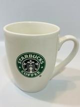 Starbucks White Mug 2007 Green Mermaid Logo Double Sided 10 Oz EUC - $9.89
