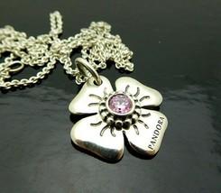 Pandora Pink Flower Necklace in Sterling Silver, adjustable - $200.00