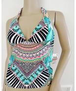 Nwt Bar III Flock Together Halter Swimsuit Tankini Top Sz XS X-Small Aqu... - $18.76