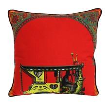 Fatfatiya Cotton Canvas & Poly Dupion Multicolor Floral Gateway Cushion ... - $35.00