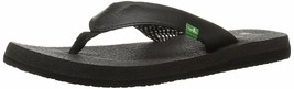 NEW Sanuk Women's Ebony Black White Yoga Mat Flip-Flop Beach Sandals Slippers