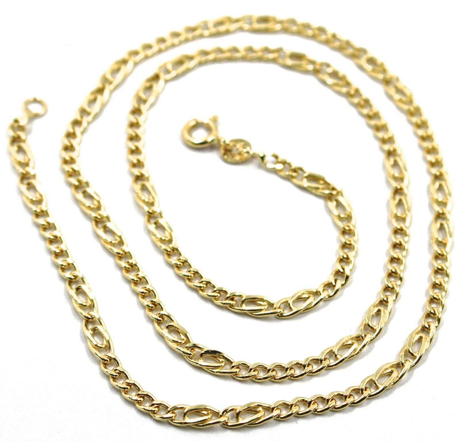 18K YELLOW GOLD CHAIN 3 MM, 20 INCHES, ALTERNATE 5 GOURMETTE, 2 TIGER EYE LINKS