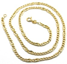 18K YELLOW GOLD CHAIN 3 MM, 20 INCHES, ALTERNATE 5 GOURMETTE, 2 TIGER EY... - $736.00