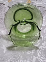 Collectible Vintage Depression ANCHOR HOCKING Glass Forest Green Ruffle Vase image 2
