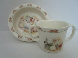 Royal Doulton Bone China Bunnykins Bowl & Mug School Diner #2  - $29.95