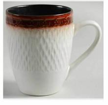"Mikasa Gourmet Basics Sorrento Red Trim Tall Mug Cup 4.5"" Embossed Red B... - $9.89"