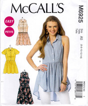 McCall's M6925 Misses Petite Tops Tunic Dress Sewing Pattern Sizes 6-8-10-12-14 - $8.25