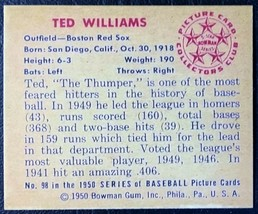 1950 Bowman #98 Ted Williams Reprint - MINT - Boston Red Sox - $1.98