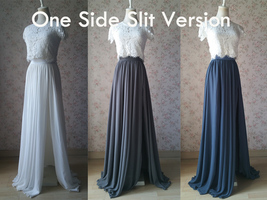 Women Maxi Chiffon Skirt Floor Length Wedding Chiffon Skirt Lavender high waist image 8