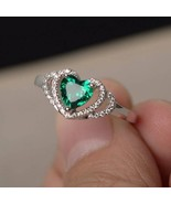 [Jewelry] Turquoise Crytal Love Heart 925 Silver Plated Ring for Woman P... - $277,64 MXN