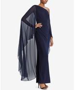 $195 Lauren Ralph Lauren One-Shoulder Cape Gown Navy 2 - $148.49
