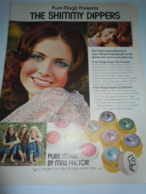 Vintage Max Factor Shimmy Dippers Print Magazine Advertisement 1971  - $5.99