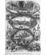 NEW YORK CITY Central Park Scenery - 1883 German Print - $21.60